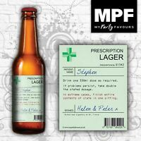 Personalised Prescription Beer/Lager Bottle Labels - Novelty Birthday/Christmas