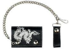 CHINESE DRAGON TRIFOLD MOTORCYCLE BIKER WALLET W CHAIN mens NEW #534 LEATHER