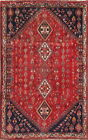 Tribal Geometric Oriental Abadeh Area Rug Wool Hand-Knotted RED Nomad Carpet 6x9