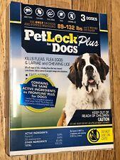 Petlock Plus Flea & Tick Spot On Dog 89-132Lb 3 Pack Fipronil. Free Ship To Usa
