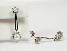 Classic Earrings/Ear Pendants with Genuine akojaperlen & Diamond; 585 White Gold