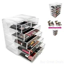 Jewelry Storage Case Display Acrylic Cosmetic Makeup Container Drawers Bathroom