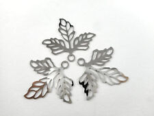 20 Silver Plated Small Filigree 3 Leaf Charm Findings 66180