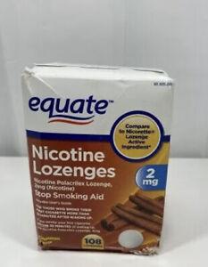 Equate Nicotine Polacrilex Lozenges 2 mg Cinnamon Flavor, Stop Smoking 07/2022