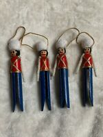 """Lot Of 4 Vintage Clothes Pin Toy Soldier Christmas Ornament 4.5"""" Decorations"""