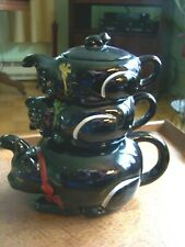 New Listing Black Cat Stacking Tea Pot/Sugar/Creamer-Red Clay-Unmarked