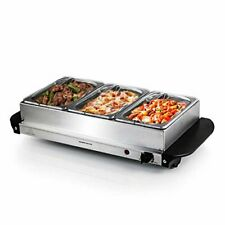 3-Sectional Electric Buffet Server Food Warmer Dining Tray Pans Stainless Silver