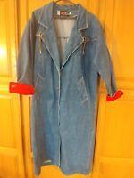 Vtg 80's Andy Johns Bergdorf Goodman Ladies Western Denim Duster Jacket Sz Large