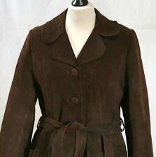 Manteau rétro vintage en cuir daim marron t. 40/42