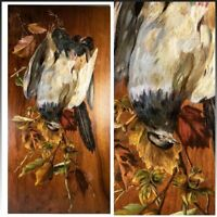 Antique French Oil Painting on Board, Nature Still Life w 2 Birds, Artist Signed
