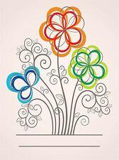 ART PRINT POSTER pittura disegno Decorata Floreale Stile fiori colori lfmp0653