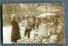 Belgique, Bruxelles, Marché des Fleurs  Vintage citrate print.  Tirage citrate