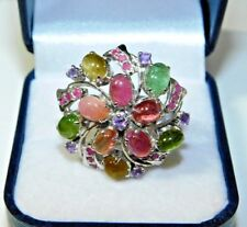 Huge Flower Cluster Sterling Silver Ruby Tourmaline Cat's Eye Stone Ring 5i 47