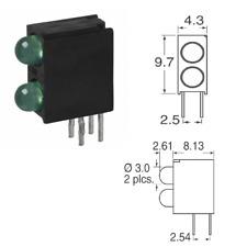 10 Pcs Vcc Led 3Mm Bi-Level Green Right Angle Pcb Led Circuit Board Indicator