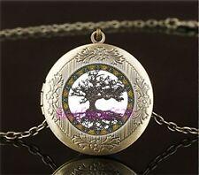 Tree of Life Cabochon LOCKET Pendant Bronze Chain Necklace USA Shipper #19