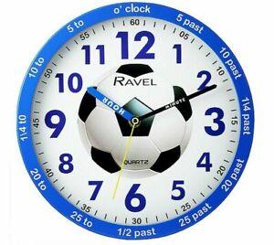 Ravel 25cm Time Teacher Wall Clock Kids Boys Blue Football Design FREE DELIVERY