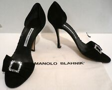 MANOLO BLAHNIK Jeweled Black Suede Leather Open Toe High Heel Sandals Pumps 8.5