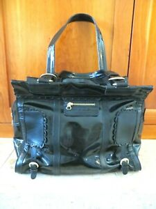 SEE BY CHLOE Zip Black Patent Leather Tote Shoulder Bag Extra Large