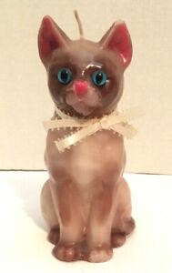 "Cute Siamese Cat Wax Candle ~ Glass Blue Eyes 7"""