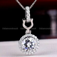 Moissanite Halo Wedding Pendant Solid 14K White Gold Certified 1.80 Ct Round Cut