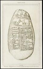 Gravure de 1852 : caillou Michaux (écriture cunéiforme) - Babylone
