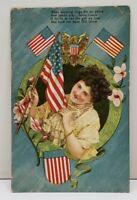 Patriotic Americana Embossed Waving Old Glory Postcard B4