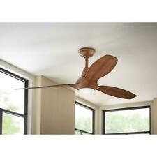 Home Decorators Tidal Breeze 56 in. LED Indoor Distressed Koa Ceiling Fan w/L&R
