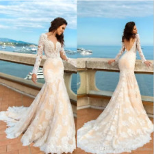 2018 Champagne A Line Lace Wedding Dress Backless Fitted Sweetheart Bridal Gown