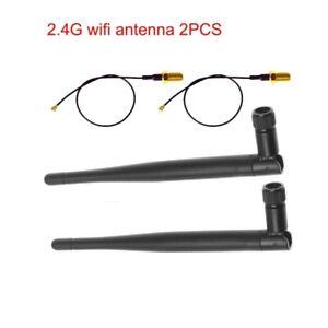 2PCS 5dBi 2.4GHz 5GHz Dual Band WiFi RP-SMA Antenna W/ 2x U.fl IPEX Cable Kits