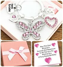50TH. 60TH. 70TH BIRTHDAY GIFT. PINK. BUTTERFLY. KEYRING. 30TH. 40TH. GIFT BOX