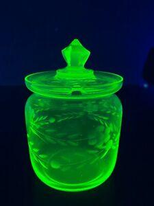 Green Uranium Glass Lidded Sugar Bowl
