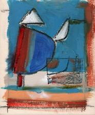 BOATS IN HARBOUR Oil Painting ABSTRACT POSSIBLY ST IVES