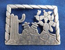 Designer Sterling Textured Hand Assembled Vintage Rural Scene Pin