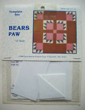 "Bear Paws plastic templates for quilt quilting 12"" block"