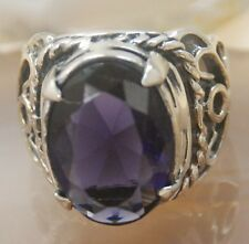 Faceted Amethyst gemstone silver ring jewelry size 9 H479