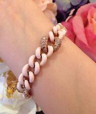 Champagne Diamond & Pink Enamel Curb Link Bracelet in 18k Rose Gold - HM1470AS