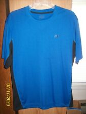Men's Reebok Play Dry Ss Blue/Black Athletic T-Shirt Lg?