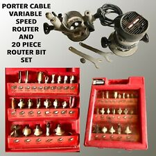 PORTER CABLE VARIABLE SPEED ROUTER WITH 2 BASES AND 20 PIECE ROUTER BIT SET