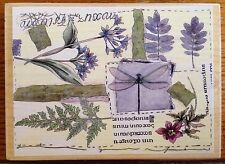 Floral Collage Stamps Happen Rubber Stamp 90288 USA Flowers Dragonfly