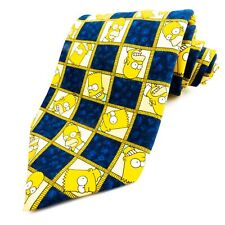 THE SIMPSONS Yellow Blue Bart & Homer Pattern Mens Novelty Tie