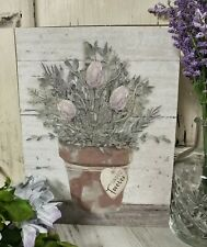 Happy Forever Muted Flower Pot Box Sign - Cottage Farmhouse Home Decor