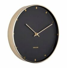 Karlsson 27cm PETITE WALL CLOCK Round Minimal GOLD Black Silent Sweep QUARTZ
