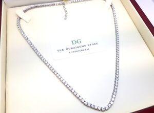 Platinum finish Classic Exquisite DG created diamond Tennis necklace Gift Boxed