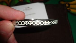 TWO COACH BLUE LEATHER AND SILVER METAL BRACELET BANGLE VINTAGE STYLE JEWELRY