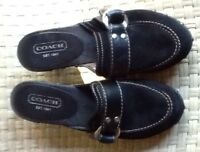 COACH BLACK SHOES BLACK SUEDE SIZE 6B MADE IN ITALY