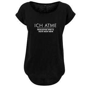 Ladies fashion Oversize Shirt Damen Tanktop Ich atme... - Schwarz & Weiß - NEU