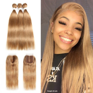 Light Brown Human Hair Bundles with Closure 4x4 Brazilian Straight Weave Bundles