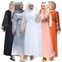 Muslim Women Long Maxi Dress Robe Abaya Sequins Dubai Kaftan Islamic Cocktail