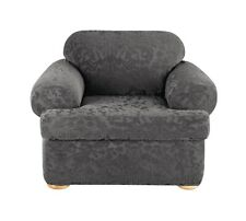 "Surefit T-Chair Slipcover Stretch Jacquard Damask Grey 2 Pc 32""-42"""