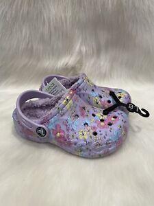 NEW Crocs Baya Purple Floral Fur Lined Clog Shoes size C 12 NWT